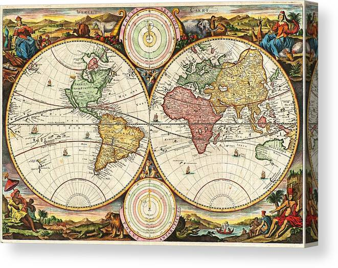 Vintage World Map Canvas Print Canvas Art By Daniel Stoopendaal