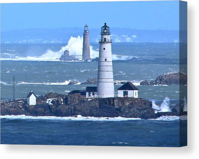 Boston Light Canvas Print featuring the photograph Waves On Graves by Patricia Abbate