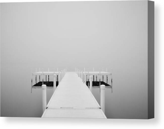 White Dock In Fog 2 Canvas Print featuring the photograph White Dock In Fog 2 by Greg Jackson