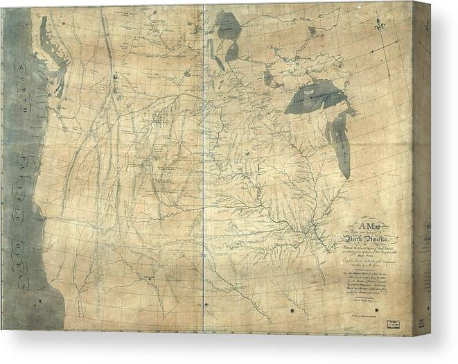 image regarding Lewis and Clark Printable Map identify 1805 Lewis And Clark Map Of Section Canvas Print