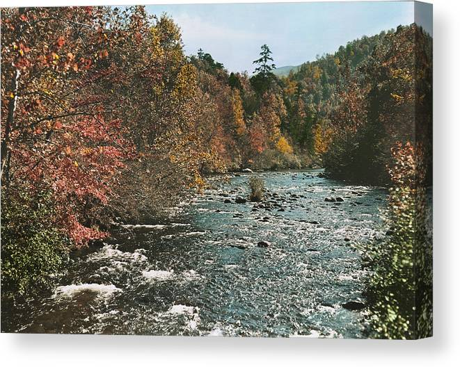 tennessee Canvas Print featuring the photograph An Autumn Scene Along Little River by J. Baylor Roberts