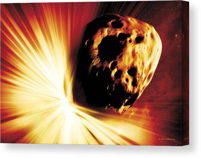 Explosion Canvas Print featuring the photograph Asteroid Deflection, Stand-off Explosion by Detlev Van Ravenswaay