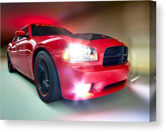 2007 Torred Dodge Charger R/t Canvas Print featuring the photograph Dodge Charger by Anna Rumiantseva