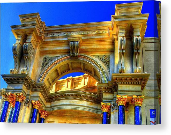 Caesars Palace Canvas Print featuring the photograph Forum Shops Arch by Linda Edgecomb