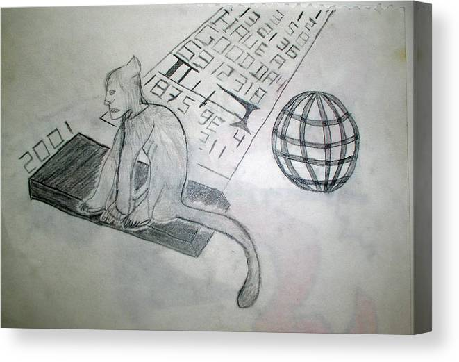 Mouse Canvas Print featuring the drawing Have A Good Day by Alexander Wahl