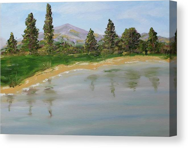 Landscape Canvas Print featuring the painting Purple Mountain by Anna Ruzsan