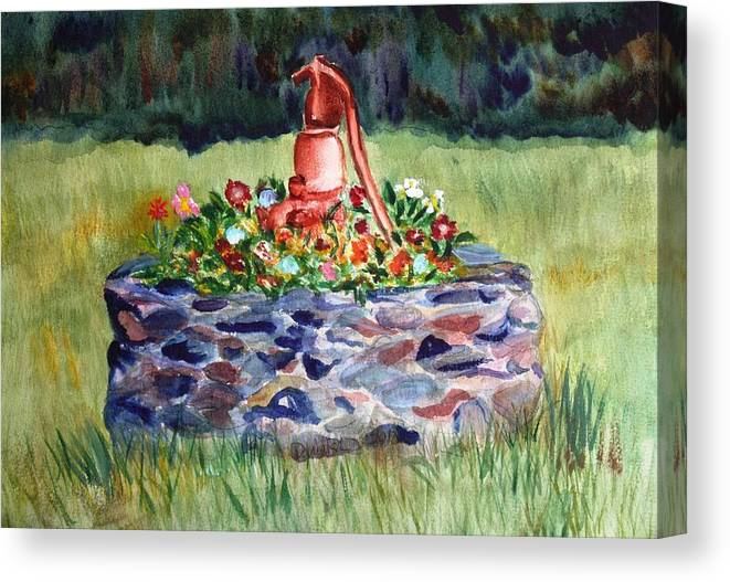 Water Canvas Print featuring the painting Retired Water Pump by Donna Walsh