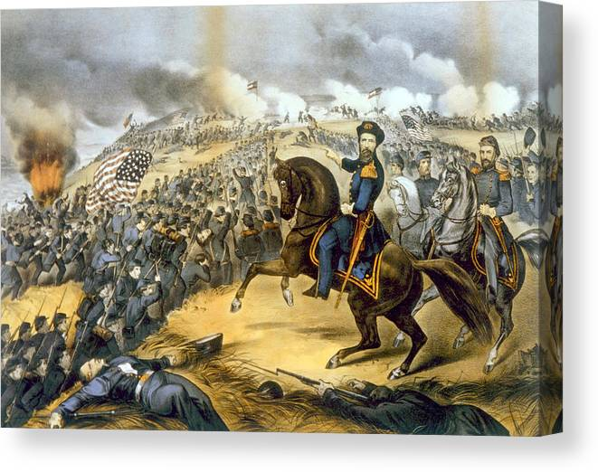 Battle Of Fort Donelson Canvas Print featuring the photograph The Storming Of Fort Donelson, February by Everett