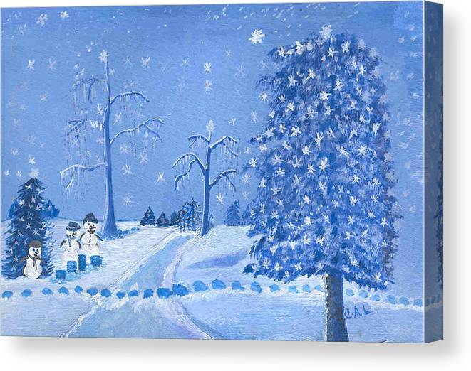 Starry Canvas Print featuring the painting Through The Woods by Carol Lunsford