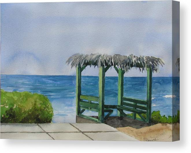 Beach Canvas Print featuring the painting Wind N Sea by Carol Shamrock