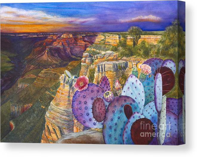 Canyon Canvas Print featuring the painting South Rim Wonders by Jany Schindler