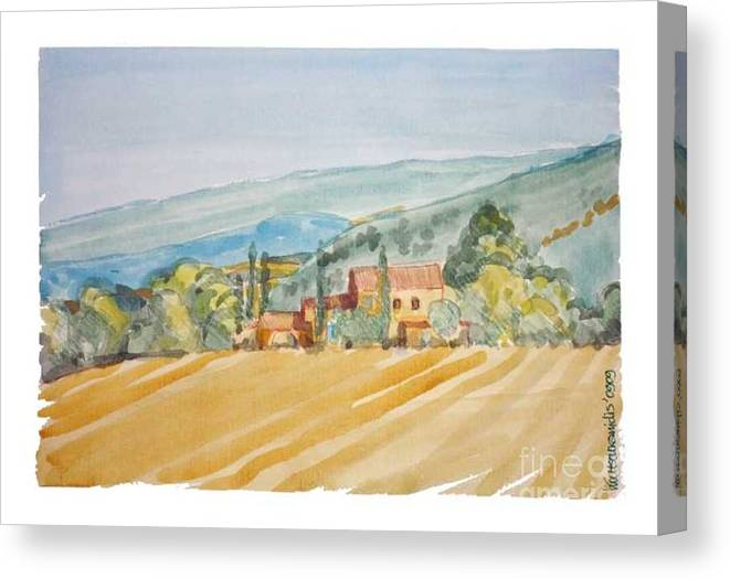 France Canvas Print featuring the painting Farm In Provence by Kostas Koutsoukanidis