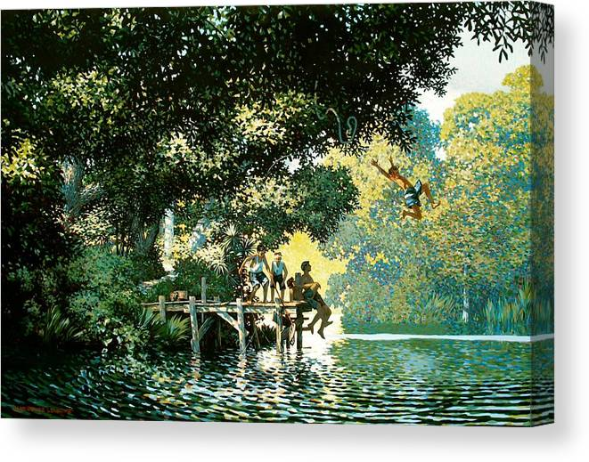 Landscape Canvas Print featuring the painting Pointe Pleasant by Kevin Lawrence Leveque