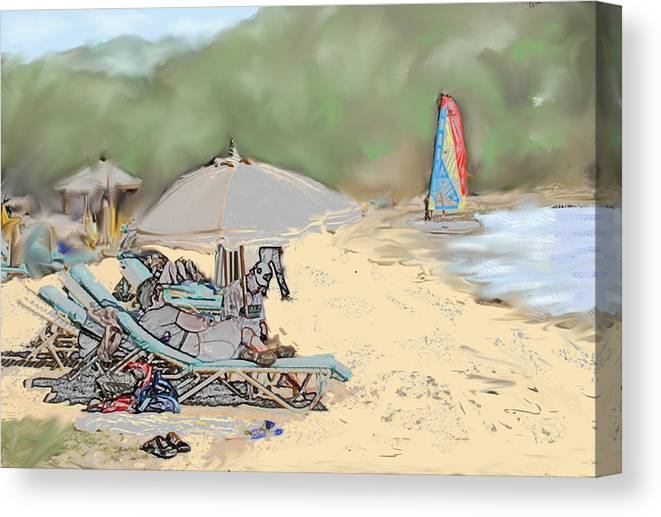 Beach. Toursts Canvas Print featuring the digital art Reggae Beach by Ian MacDonald