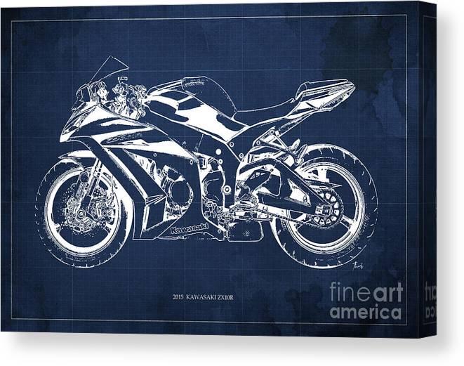 2015 Kawasaki Zx10r Blueprint Canvas Print featuring the digital art 2015 Kawasaki Zx10r Blueprint, Motorcycle Art Print,gift For Men,man Cave Decoration by Drawspots Illustrations