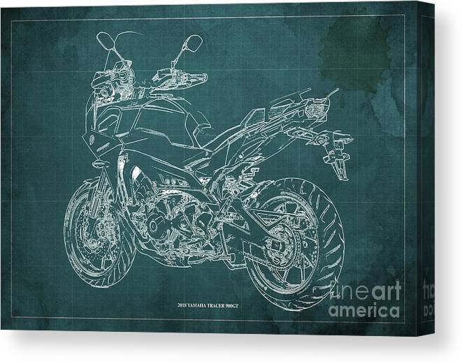 Canvas Print featuring the digital art 2018 Yamaha Tracer 900gt Blueprint Green Background by Drawspots Illustrations