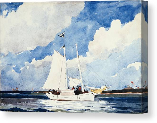 Fishing Schooner Canvas Print featuring the painting Fishing Schooner by Winslow Homer