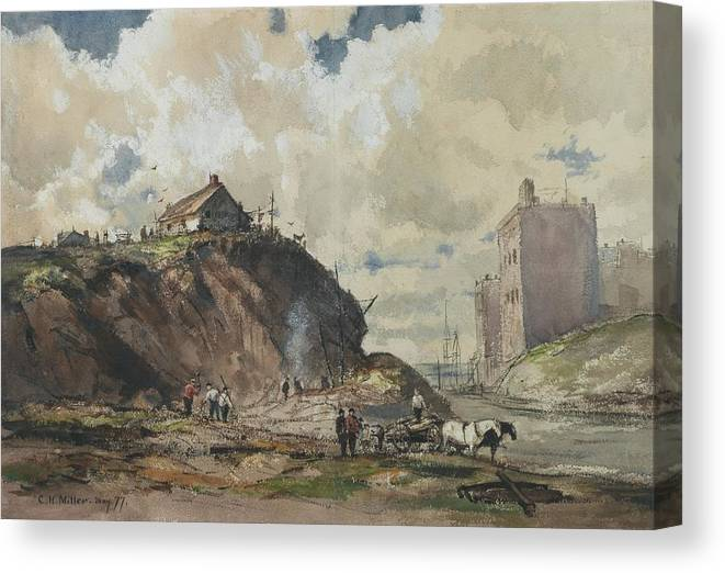 Charles Henry Miller (american Canvas Print featuring the painting The Way The City Is Built by Charles Henry