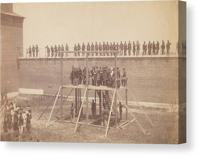 Execution Of The Conspirators Canvas Print featuring the painting Execution Of The Conspirators by Alexander Gardner