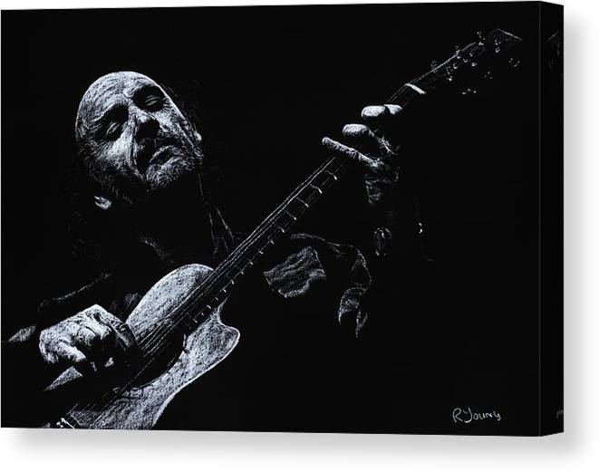 Musician Canvas Print featuring the pastel Acoustic Serenade by Richard Young