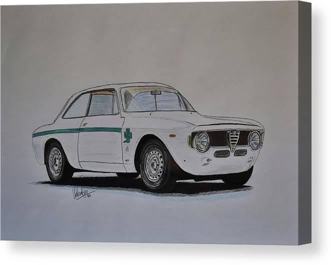 Alfa Romeo Canvas Print featuring the drawing Alfa Romeo Giulia Gta by Valentin Domovic