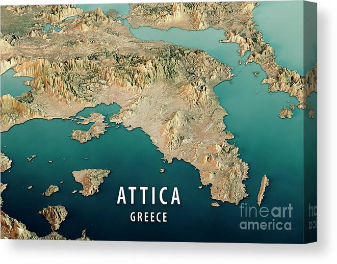 Attica Greece 3d Render Satellite View Topographic Map Horizonta