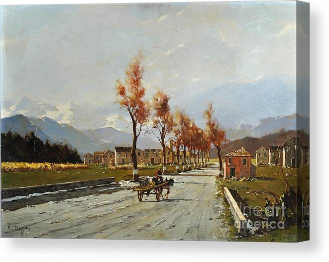 Oil On Canvas Canvas Print featuring the painting Avellino's Landscape by Rosario Piazza
