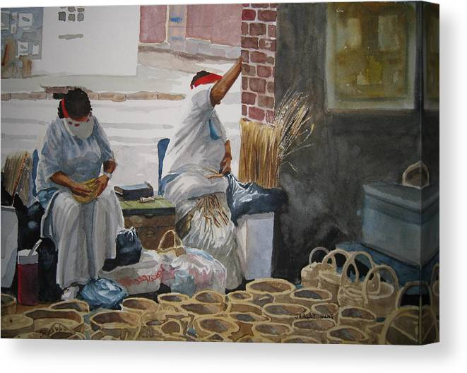Market Street Canvas Print featuring the painting Basketweavers by Shirley Braithwaite Hunt