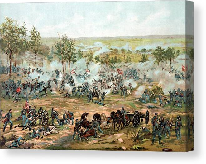 Gettysburg Canvas Print featuring the painting Battle Of Gettysburg by War Is Hell Store