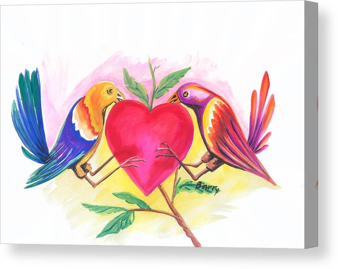 Love Canvas Print featuring the painting Birds In Love 01 by Emmanuel Baliyanga