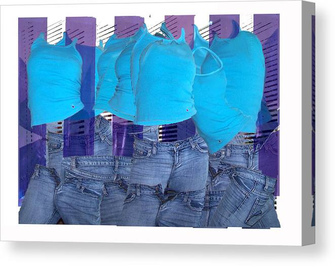 Collage Of Images Of Tops And Jeans Canvas Print featuring the digital art Blue Comp Number Three by Leo Malboeuf