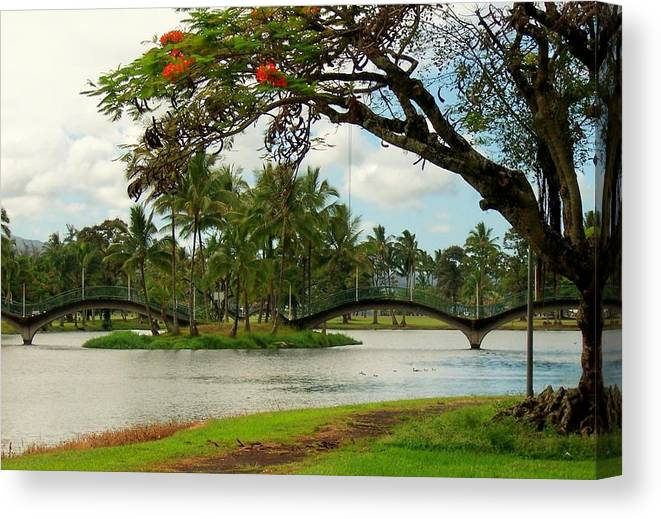 Landscape Canvas Print featuring the photograph Bridges At Wailoa by Dina Holland