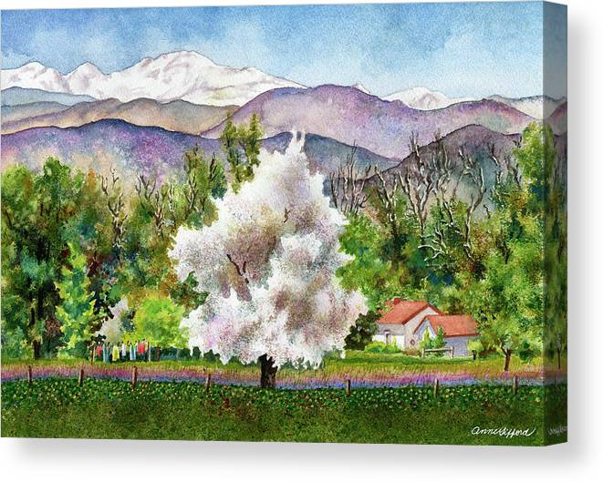 Blossoming Tree Painting Canvas Print featuring the painting Celeste's Farm by Anne Gifford