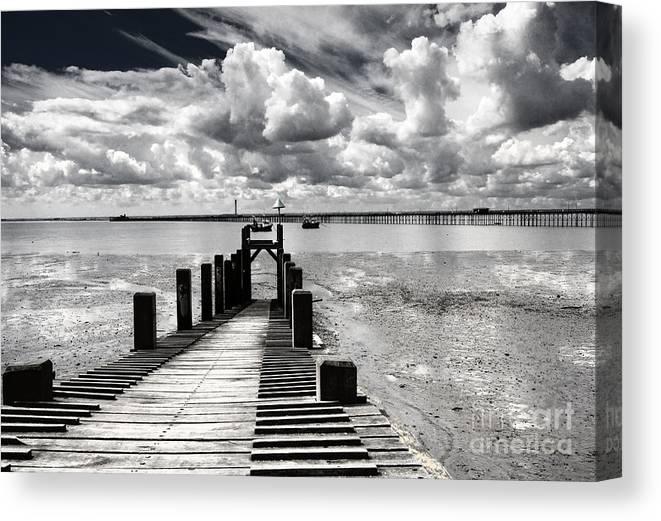 Wharf Southend Essex England Beach Sky Canvas Print featuring the photograph Derelict Wharf by Sheila Smart Fine Art Photography