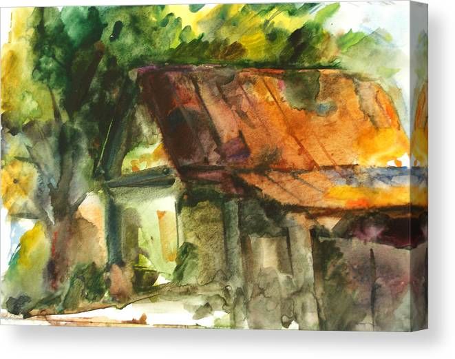Deserted Canvas Print featuring the painting Deserted House by Natoly Art
