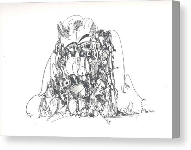 Human Forms Canvas Print featuring the drawing Embedded In Rock by Padamvir Singh