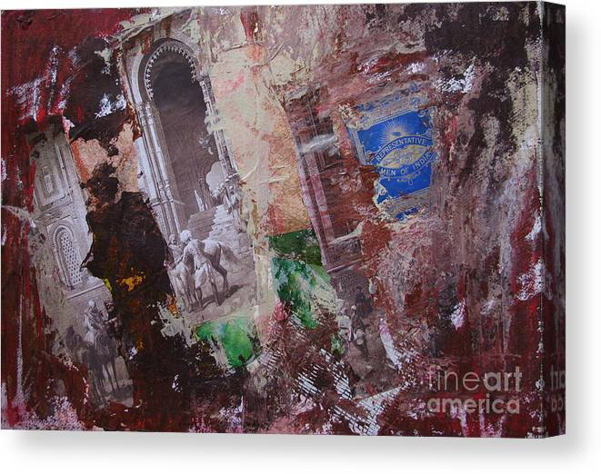 Collage Canvas Print featuring the painting End Of An Era by Mini Arora