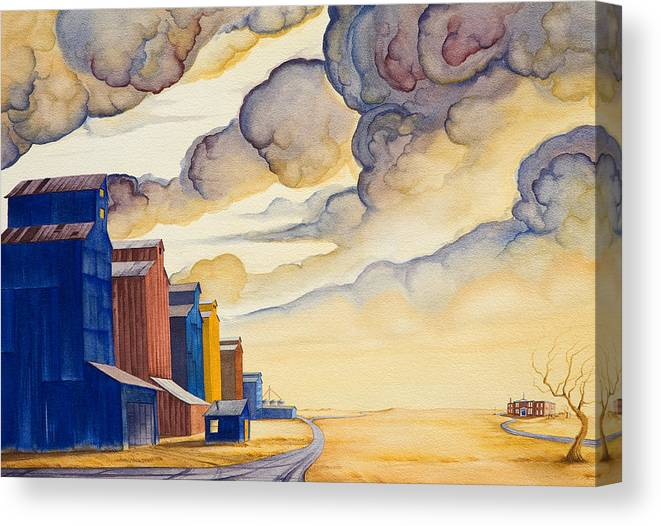 Great Plains Art Canvas Print featuring the painting Facing The Storm by Scott Kirby