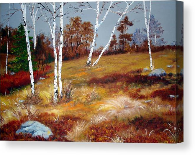 Maine Canvas Print featuring the painting Fall Birch Trees And Blueberries by Laura Tasheiko