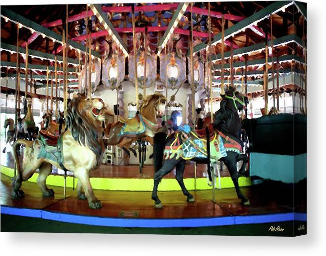 Carousel Canvas Print featuring the mixed media Forest Park Carousel by Peggy De Haan