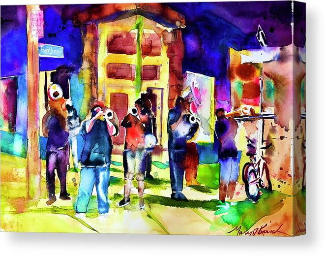 Street Scene Canvas Print featuring the painting Frenchman Street by Mary J Kirsch