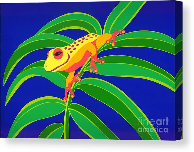 Nature Canvas Print featuring the drawing Frog On Branch by Lucyna A M Green