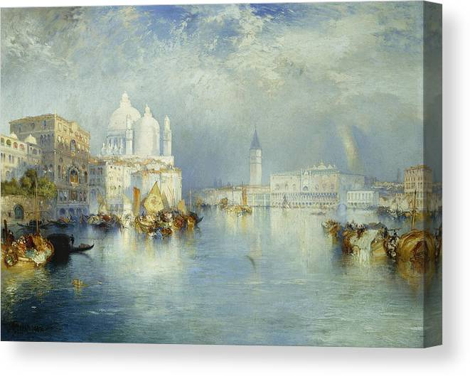American Artist; Architectural; Architectural Feature; Blue; Boats; Buildings; Building Exteriors; Bystander; Calm; City;cloud; Cloudy; Color; Daytime; Docked; Dome; Europe; Grand Canal; Hudson River School;italy; Landmark; Monument; Moored; Oil Painting; Outdoors; Peaceful; People; Quiet; Reflection; Romantic Art; Romantic Era; Romanticism; Saint Mary Of Health; Santa Maria Della Salute; Sky; Stationary; Still; Tower; Tranquil; Urban; Venezia; Venice; Water Transport; Water Vessel; White Canvas Print featuring the painting Grand Canal Venice by Thomas Moran