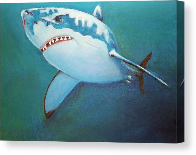 Great White Canvas Print featuring the painting Great White 3 by Terry Lewey