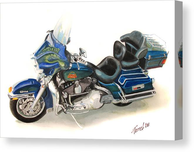Motorcycle Canvas Print featuring the painting Harley Electraglyde by Ferrel Cordle