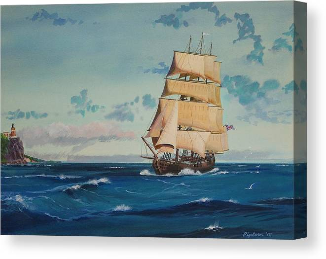 Tall Ships Canvas Print featuring the painting Hms Bounty On Lake Superior by Werner Pipkorn
