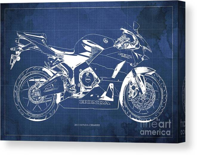 Honda Cbr600rr 2013 Blueprint Canvas Print featuring the digital art Honda Cbr600rr 2013 Blueprint, Blue Vintage Background by Drawspots Illustrations