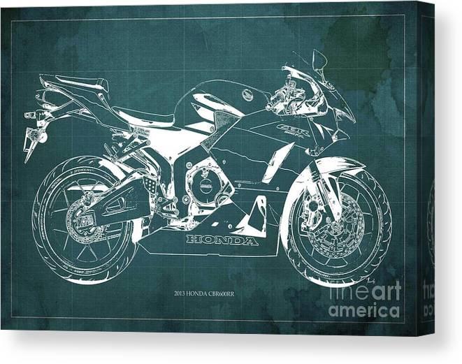 Honda Cbr600rr 2013 Blueprint Canvas Print featuring the digital art Honda Cbr600rr 2013 Blueprint, Green Vintage Background, Gift For Dad by Drawspots Illustrations