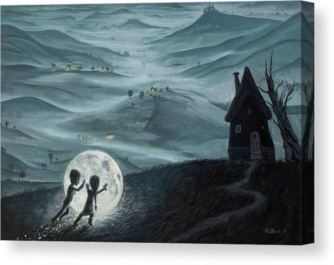 Kids Canvas Print featuring the painting I Love Dreaming Into That Dying Light by Adrian Borda