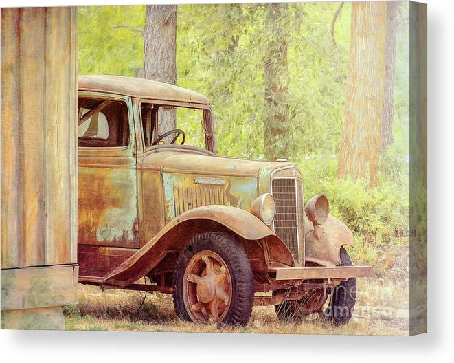 Truck Canvas Print featuring the photograph International At Cle Elum by Jean OKeeffe Macro Abundance Art